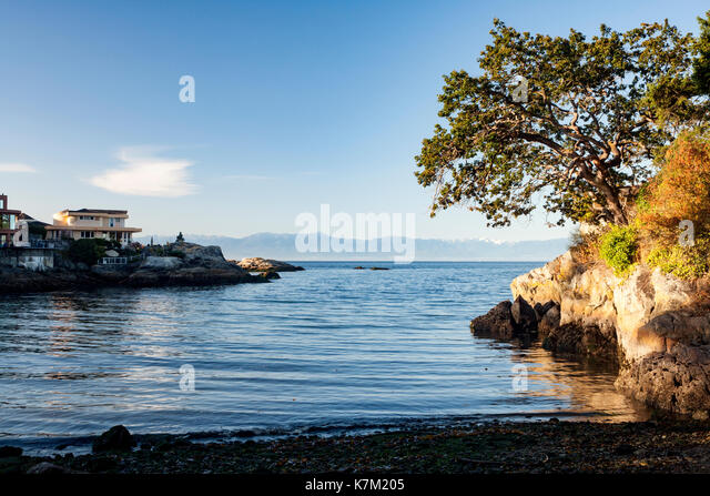 View from Saxe Point Park - Esquimalt, Victoria, Vancouver Island, British Columbia, Canada - Stock Image