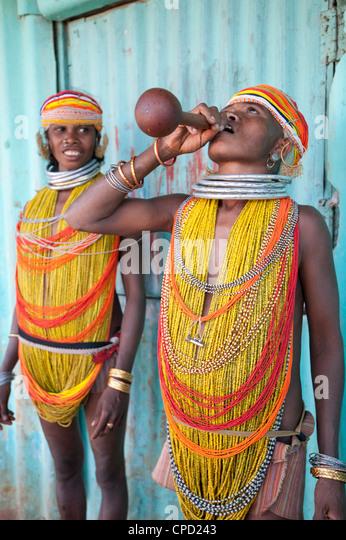Two Bonda tribeswomen wearing traditional beads, Rayagader, Orissa, India - Stock Image