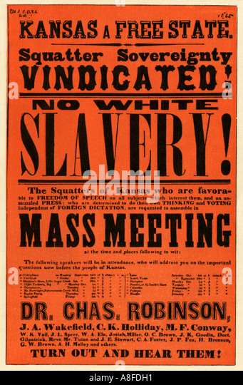 Poster to rally Kansas homesteaders behind pro slavery governor Charles Robinson during the Bleeding Kansas conflict - Stock-Bilder