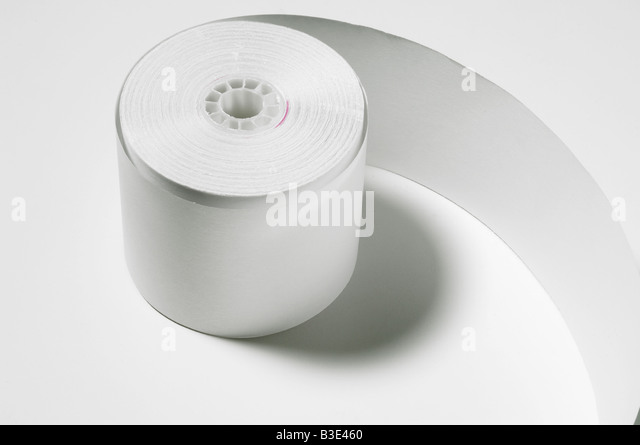 A roll of white adding machine paper - Stock Image