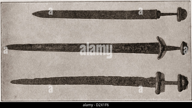 Weapons of the Anglo Saxon Period. From A First Book of British History published 1925. - Stock Image