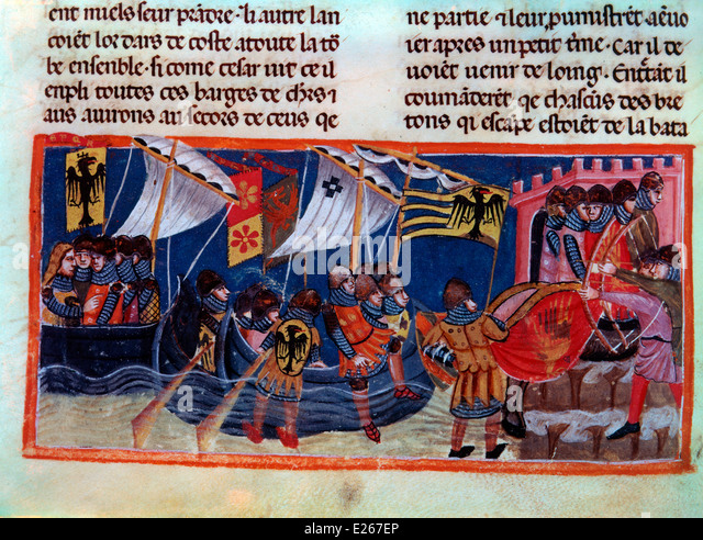 Charlemagne and his paladins,french miniature of 13th century,venice,Biblioteca Nazionale Marciana - Stock Image