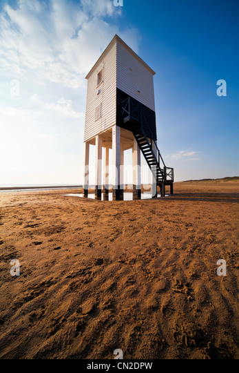The unusual lighthouse on stilts at Burnham-on-Sea, Somerset, England, UK - Stock Image
