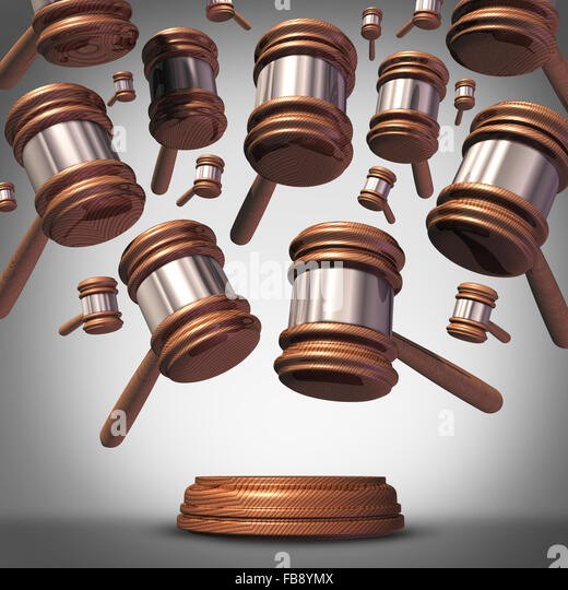 Class action lawsuit concept as a plaintiff group represented by many judge mallets or gavel icons coming down as - Stock Image