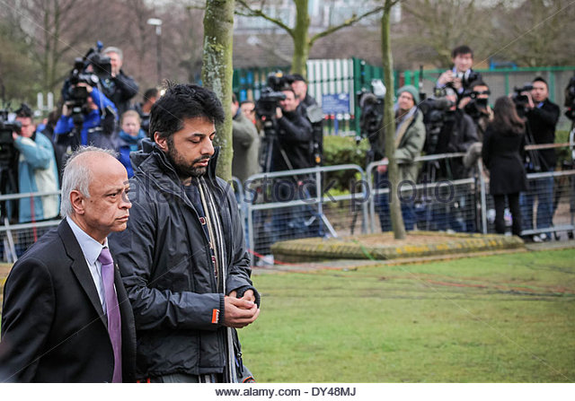Shrien Dewani accompanied by his father arriving at Belmarsh Magistrates Court in London - Stock Image
