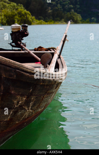 side of wood canoe boat floating on water lake river ocean trees bushes plants nature brown green blue white red - Stock Image