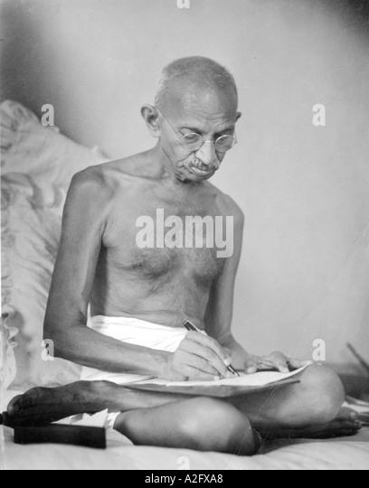 MKG33080 Mahatma Gandhi drafts writing a historic document at Birla House Mumbai Bombay India August 1942 - Stock Image