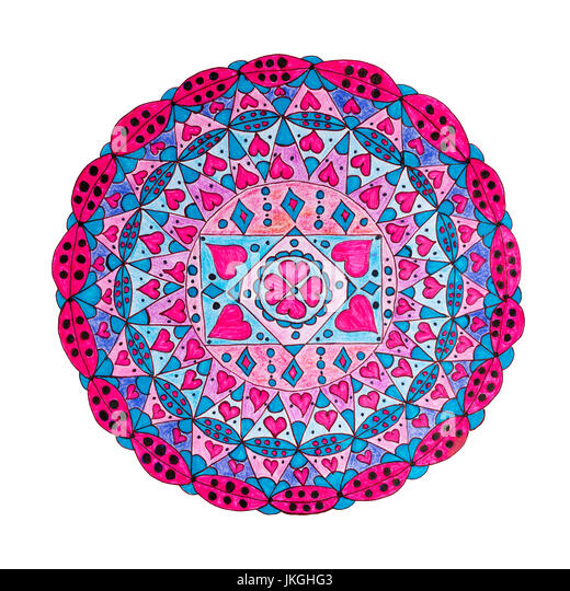 Colorful oriental decorative hand drawn mandala pattern isolated on white - Stock Image