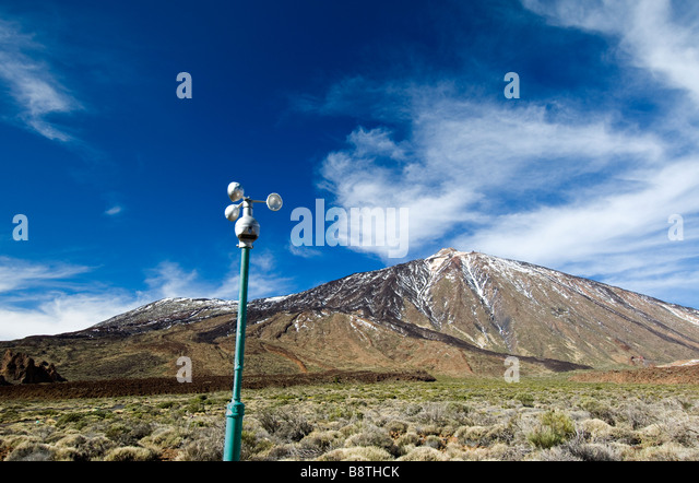 Climate and wind sensor anemometer closely monitors weather in Teide National Park, Mount Teide, Tenerife, Canary - Stock Image