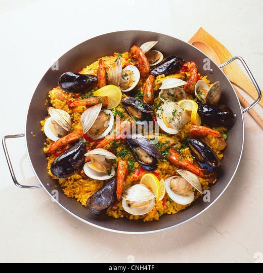 paella in pan - Stock Image