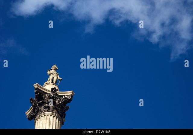 Nelson's Column, Trafalgar Square, London, England, United Kingdom - Stock Image