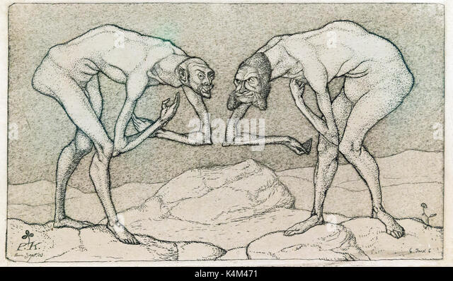 Two Gentlemen Bowing to One Another, Each Supposing the Other to Be in a Higher Position, by Paul Klee, 1903, Solomon - Stock Image