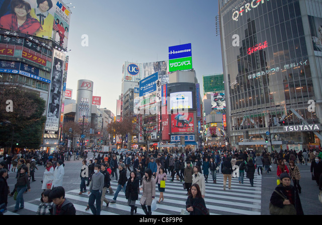 Tokyo, city, Japan, November, Asia, district, Shibuya, people, passers-by, pedestrians, city, center, town, city, - Stock Image