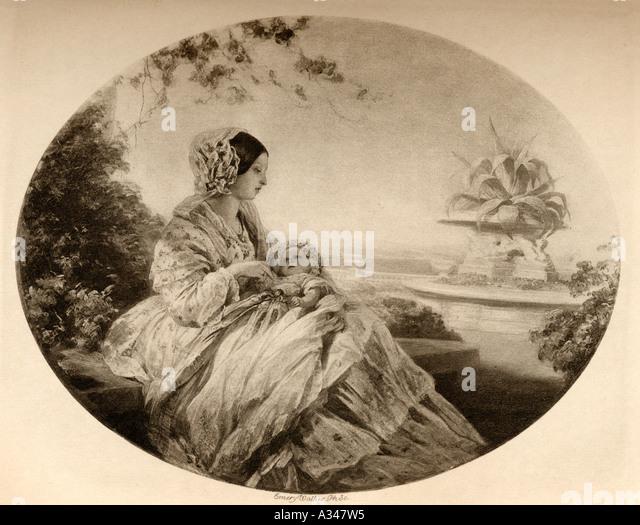 Queen Victoria 1819 1901 and Prince Arthur 1850 1942 in 1850 - Stock-Bilder