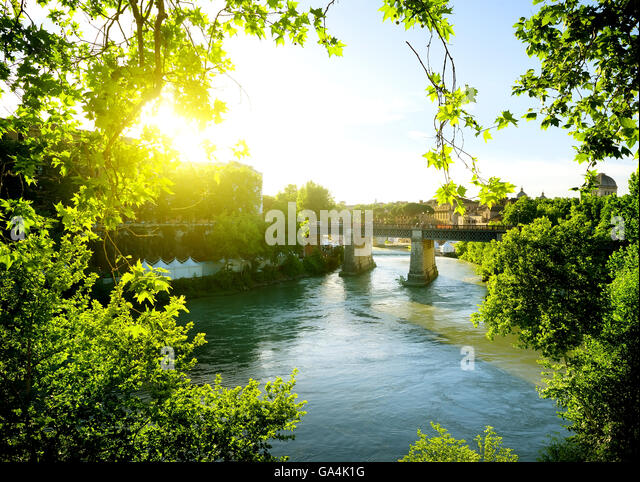 Ponte Palatino over Tiber in Rome, Italy - Stock Image