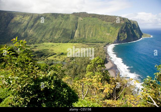 The beautiful coastline of Waipio Valley, Hawaii - Stock Image