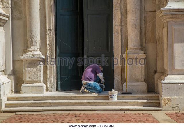 Restoration work on church doorway, Venice, Italy, April - Stock-Bilder