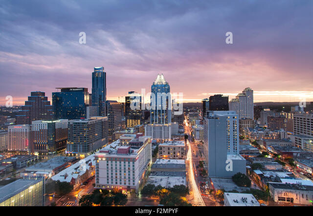 Austin skyline at twilight - Stock Image