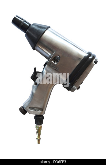 An air impact wrench tool for use with an air compressor on a white background - Stock Image