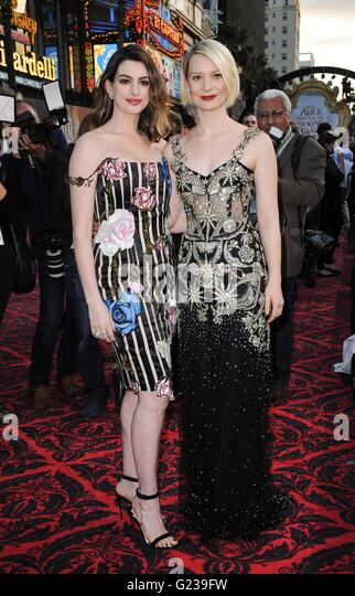 Los Angeles, CA, USA. 23rd May, 2016. Mia Wasikowska, Anne Hathaway at arrivals for ALICE THROUGH THE LOOKING GLASS - Stock Image