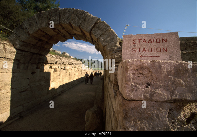 Greece Olympia first Olympic games in 776 B.C. first Olympic stadium entrance - Stock Image