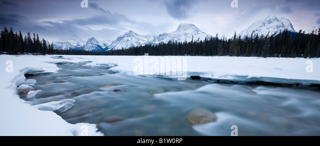 Canada Alberta Jasper National Park Rocky mountains viewed over Athabasca river - Stock Image