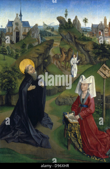 The Legend of St Antony' (of Egypt). Anonymous French. c1450. - Stock Image