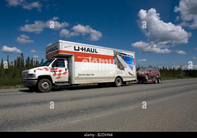 U-haul van on the move in Alaska, Northern America, United States of America - Stock Image
