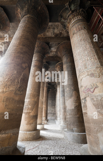 Columned Hall of Khnum Temple of Esna, Esna, Egypt - Stock Image