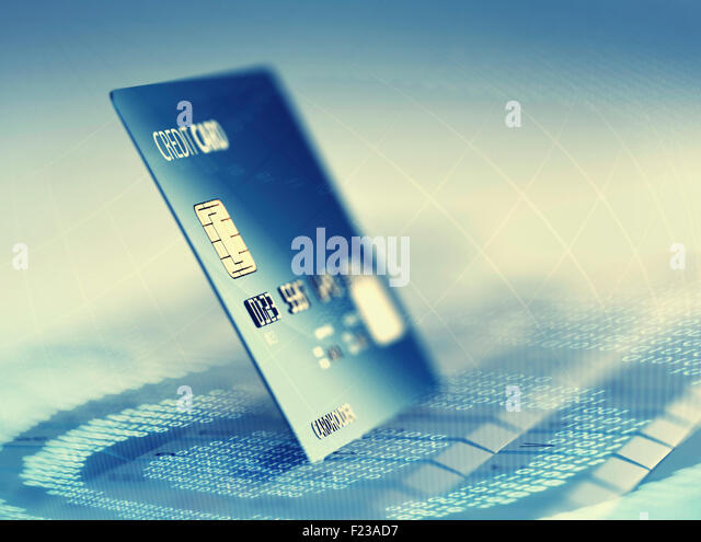 Global electronic internet credit card payment and commerce (3D render) - Stock Image
