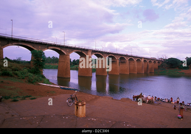 India, Andhra Pradesh. Bridge On The River Krishna - Stock Image