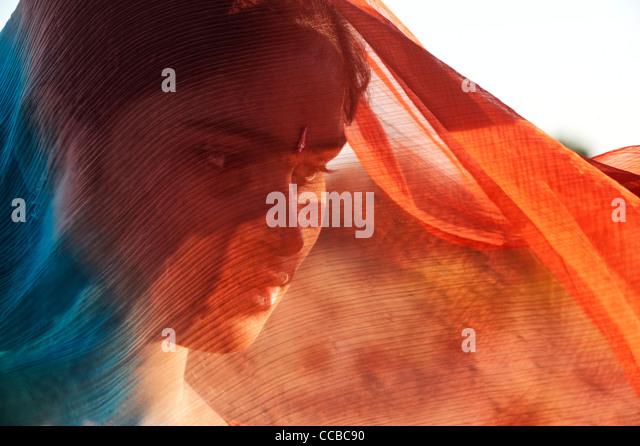 Indian girl wearing a veil.  Andhra Pradesh, India - Stock Image