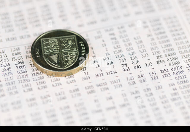 British pound coin over share prices, economy concept - Stock Image