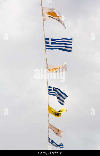 Cyprus Independance Day bunting with flags from Cyprus, Greece, and St Lazarus. - Stock Image