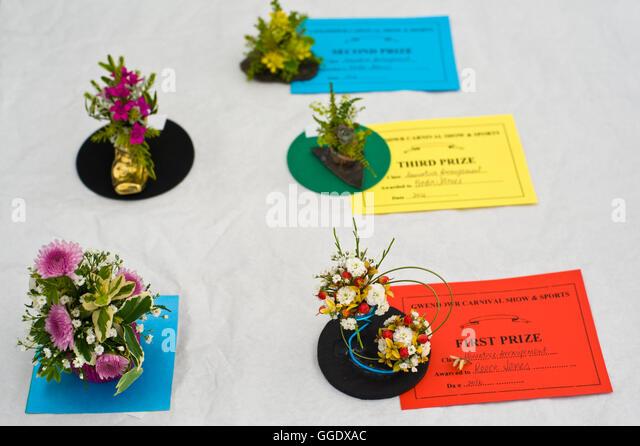 Prize winning miniature flower arrangements at Gwenddwr Show, Gwenddwr, near Builth Wells, Powys, Wales, UK - Stock Image