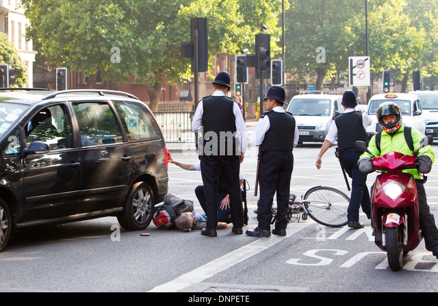 Cycle crash in the Marylebone road - Stock Image