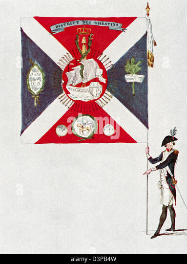 Battalion flag of the Parisien National Guard, Battalion Des Théatins. - Stock Image