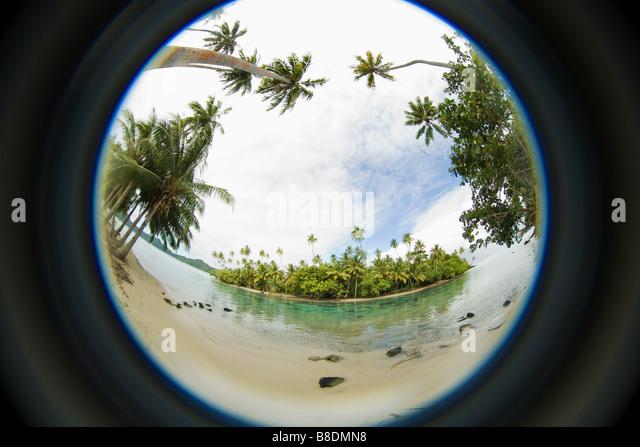 Fisheye perspective of island - Stock Image