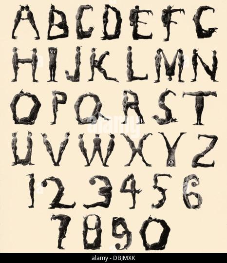 The Three Delevines Satanic Gambols Human Alphabet. The Three Delevines were an 1897 Music Hall act. - Stock-Bilder