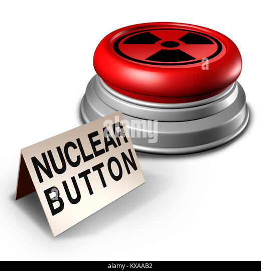 Nuclear button war threat concept as an atomic bomb launcher on a desk as a dangerous missile launch symbol as a - Stock Image