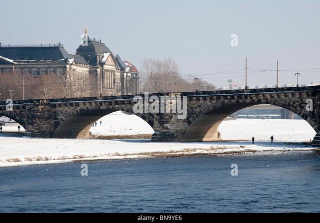 Augustusbrücke (Augustus Bridge) in Dresden, Germany. - Stock Image