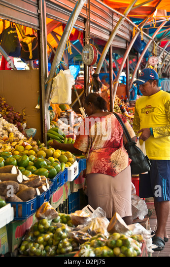 Famous floating market with produce and vegetables, Willemstad, Curacao - Stock Image