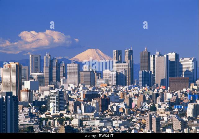 Asia Japan Asia Honshu Tokyo Mt.Fuji Mount Fuji Fuji-san Tokyo Skyline Shinjuku Skyline City View Skyscrap - Stock Image