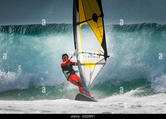 Windsurfing action, Tarifa, Costa de la Luz, Cadiz, Andalusia, Spain, Southern Europe. - Stock-Bilder