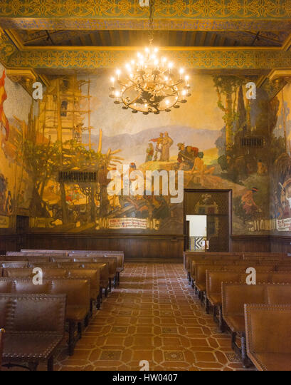 Santa barbara county courthouse stock photos santa for Mural room santa barbara courthouse