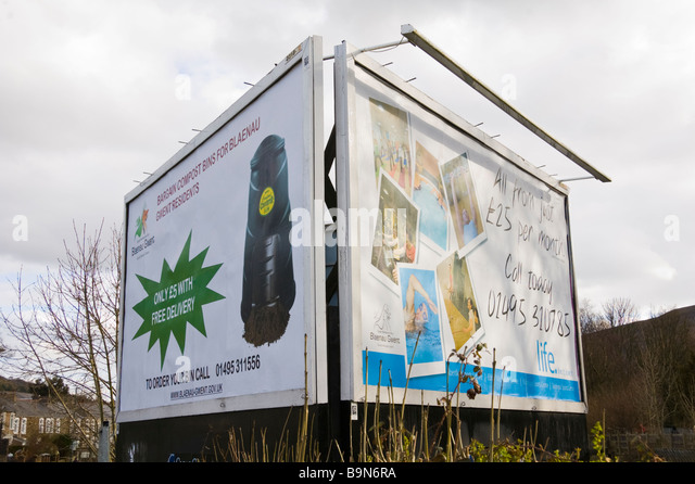 Advertising billboards for Blaenau Gwent council services at Blaina in South Wales Valleys UK - Stock Image
