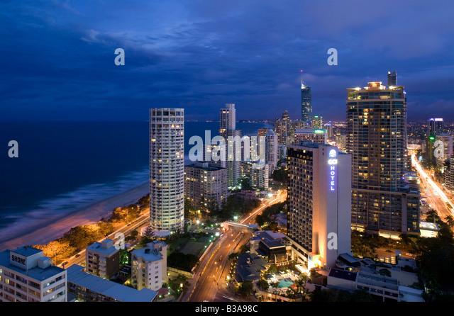 Australia, Queensland, Gold Coast, Surfer's Paradise, Evening view of Surfer's Paradise Highrises - Stock Image