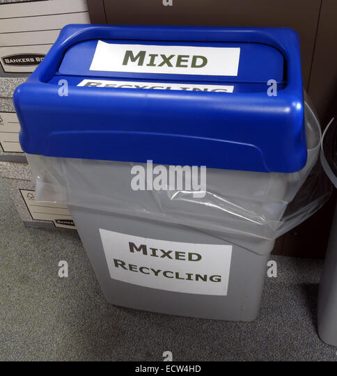 Mixed Recycling Bin in Blue & Grey for waste. Who knows what to put in these? - Stock Image