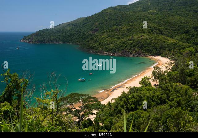 Jabaquara Beach at Ilhabela, SP, Brazil - Stock Image