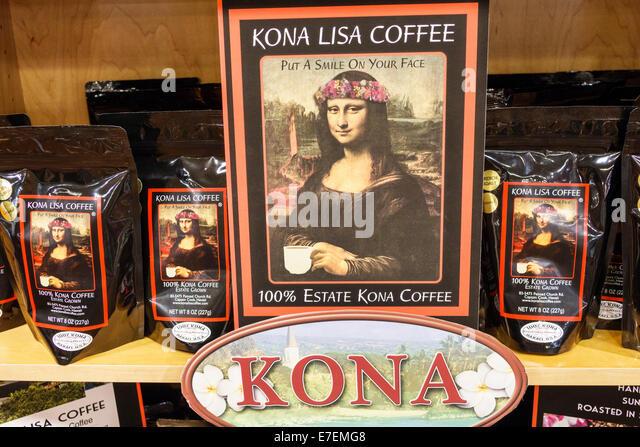 Hawaii Oahu Hawaiian Honolulu Hilo Hattie shopping retail display sale Kona Lisa Coffee Mona - Stock Image